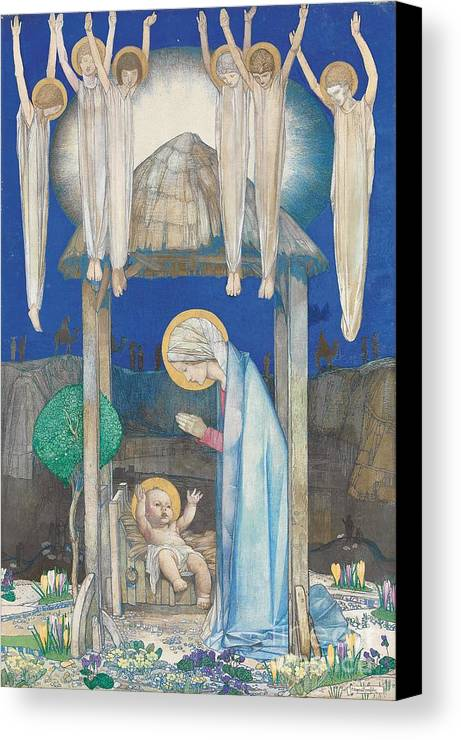 Nativity Canvas Print featuring the painting The Nativity by Edward Reginald Frampton