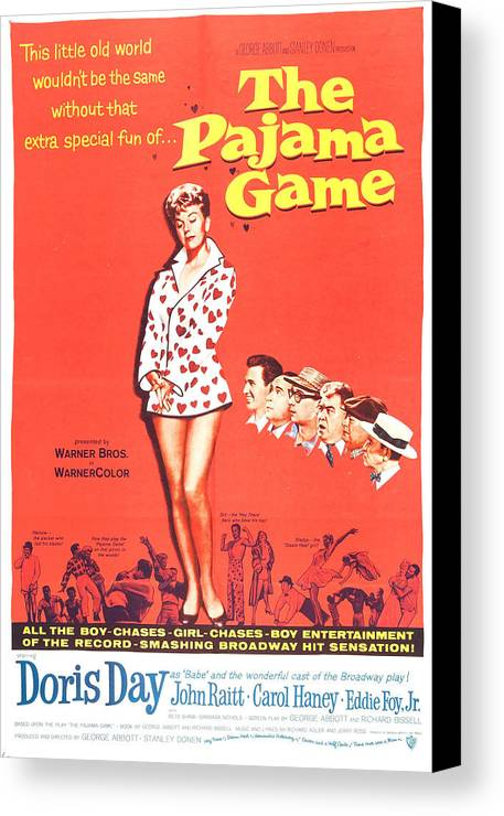 1950s Poster Art Canvas Print featuring the photograph The Pajama Game, Us Poster, Doris Day by Everett
