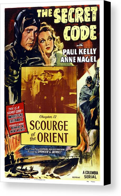 1940s Movies Canvas Print featuring the photograph The Secret Code, Us Poster, Top by Everett