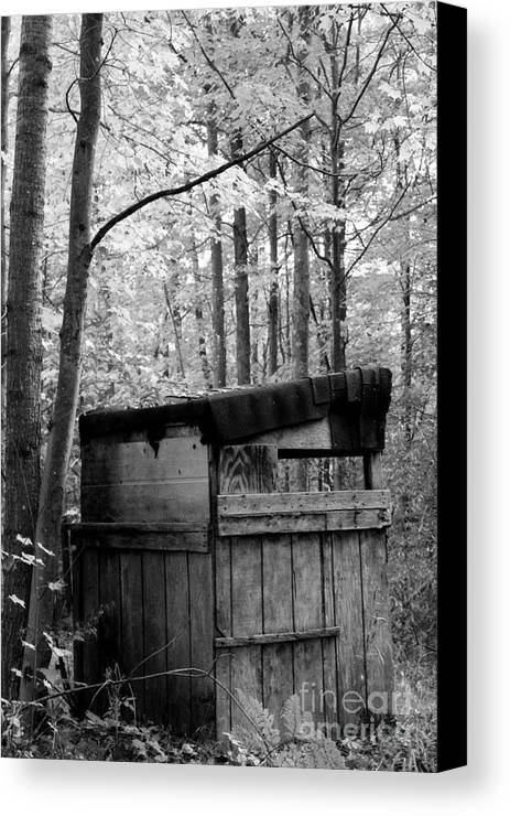 Black And White Canvas Print featuring the photograph The Shack by Stephanie Kripa