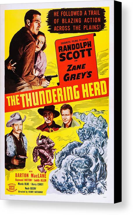 1930s Movies Canvas Print featuring the photograph The Thundering Herd, Aka Buffalo by Everett