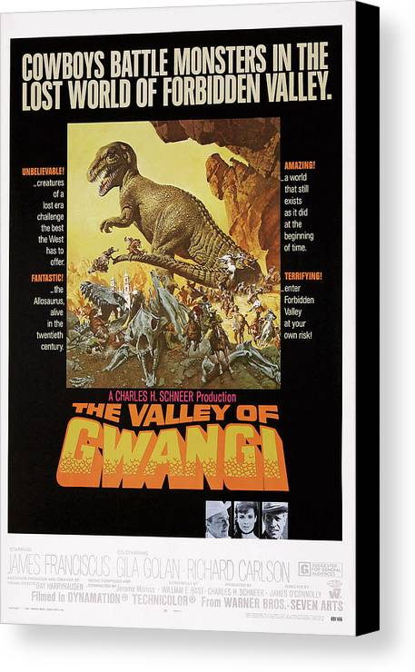 1960s Movies Canvas Print featuring the photograph The Valley Of Gwangi, Us Poster Art by Everett
