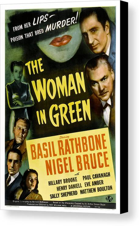 1940s Movies Canvas Print featuring the photograph The Woman In Green, Us Poster Art, Left by Everett
