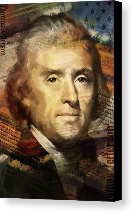 Thomas Jefferson Canvas Print featuring the painting Thomas Jefferson by Corporate Art Task Force