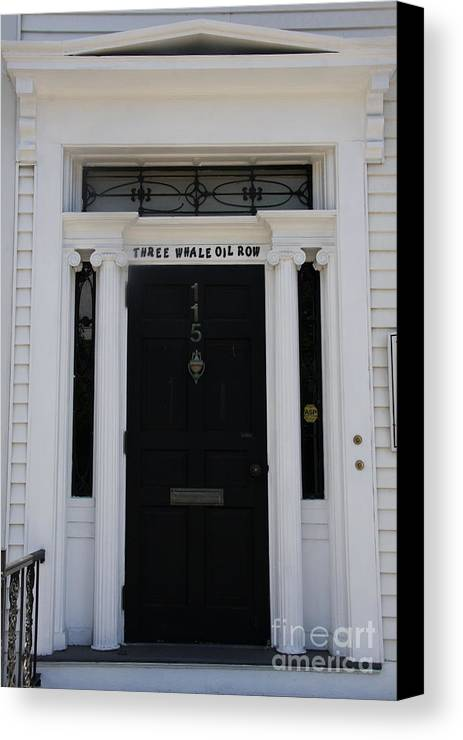 Whale Oil Row Canvas Print featuring the photograph Three Whale Oil Row - Black Door - New London by Christiane Schulze Art And Photography