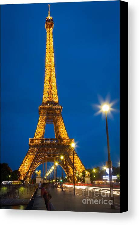 Eiffel Canvas Print featuring the photograph Tour Eiffel De Nuit by Inge Johnsson