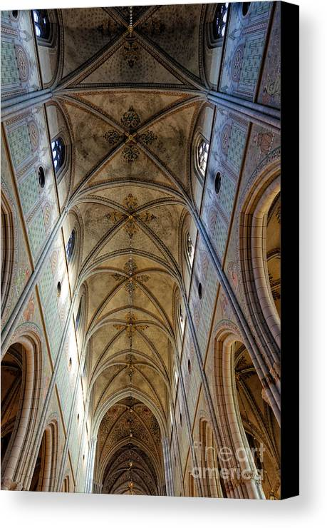 Ceiling Canvas Print featuring the photograph Towering Art - The Painted Ceiling Above The Nave Of Uppsala Cathedral - Sweden by David Hill