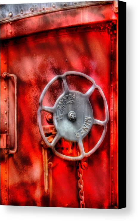 Savad Canvas Print featuring the photograph Train - Car - The Wheel by Mike Savad