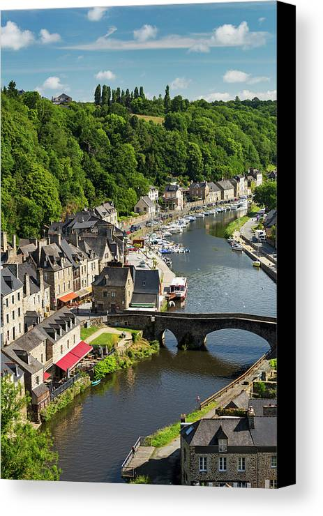 Blue Sky Canvas Print featuring the photograph Treed Valley Riverside Town, Stone by Michael Interisano