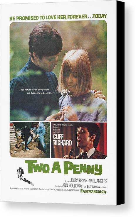 1970 Movies Canvas Print featuring the photograph Two A Penny, Us Poster Art, Cliff by Everett