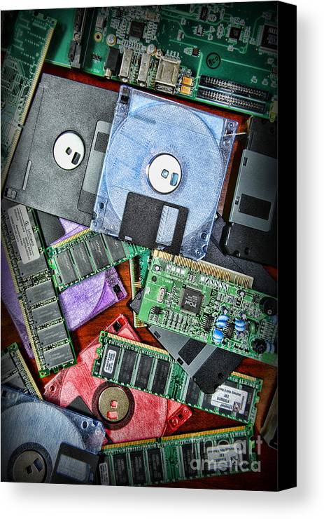 Paul Ward Canvas Print featuring the photograph Vintage Computer Parts by Paul Ward
