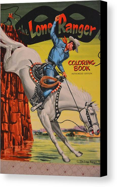 Old Canvas Print Featuring The Photograph Vintage Lone Ranger Coloring Book By Richard Jenkins