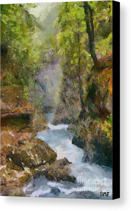 Gorge Canvas Print featuring the painting Vintgar Gorge by Dragica Micki Fortuna