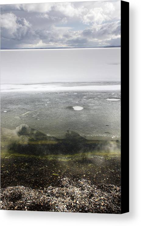 Yellowstone National Park Canvas Print featuring the photograph Volcano Under Ice by Cynthia Bruner