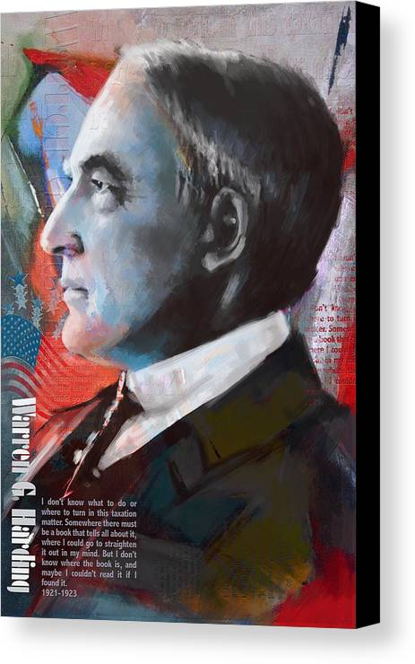 Warren G. Harding Canvas Print featuring the painting Warren G. Harding by Corporate Art Task Force