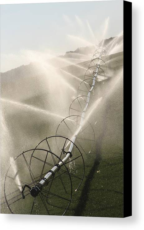 Agriculture Canvas Print featuring the photograph Watering Fields by LucendaLynn K