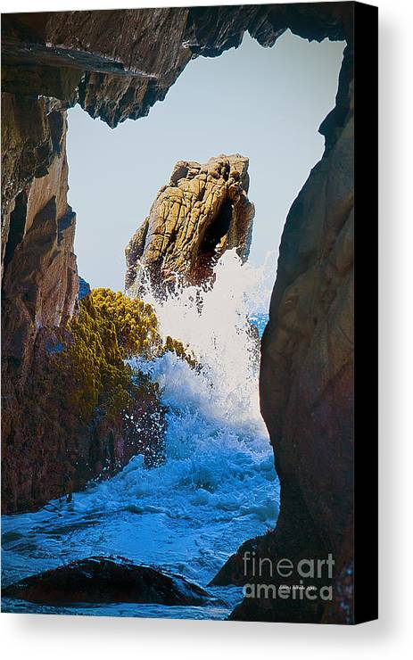 Pfeiffer Beach Canvas Print featuring the photograph Wave Through The Cave At Pfiffer Beach In Big Sur by Artist and Photographer Laura Wrede