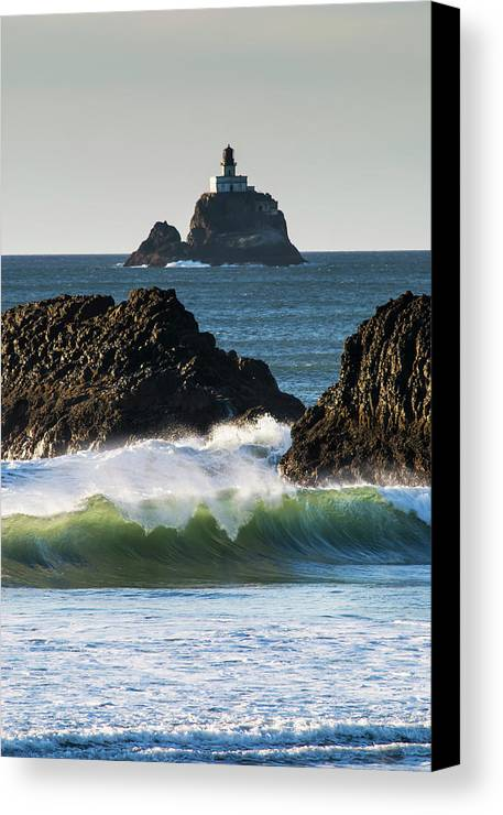 Breaking Canvas Print featuring the photograph Waves Breaking At Ecola State Park by Robert L. Potts