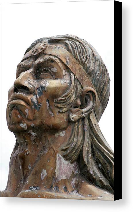 Statue Canvas Print featuring the photograph Weathered Statue Of Inca Warrior by Robert Hamm