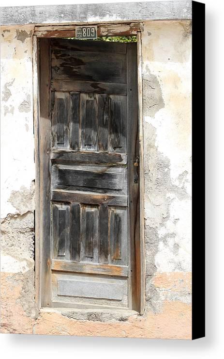 Door Canvas Print featuring the photograph Weathered Wooden Gray Door by Robert Hamm