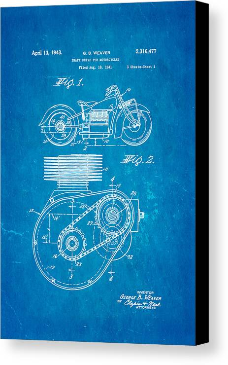 Weaver indian motorcycle shaft drive patent art 1943 blueprint engineer canvas print featuring the photograph weaver indian motorcycle shaft drive patent art 1943 blueprint by malvernweather Image collections