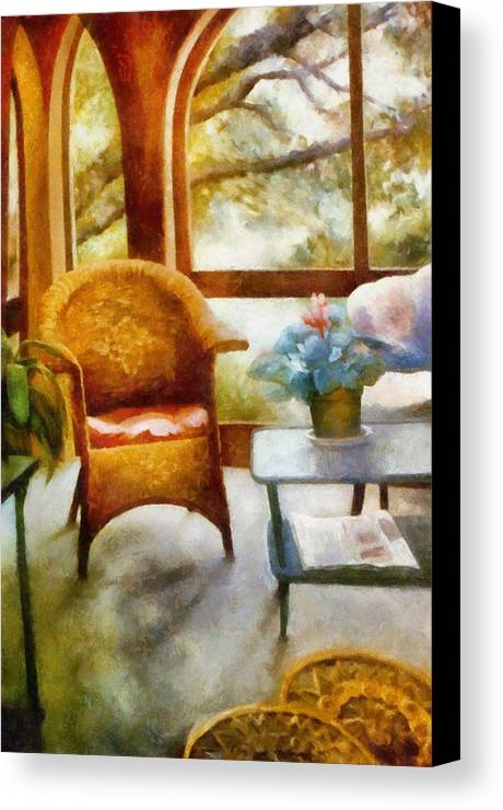 Interior Canvas Print featuring the painting Wicker Chair And Cyclamen by Michelle Calkins