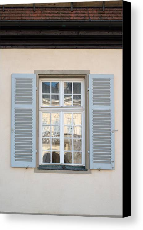 Window Canvas Print featuring the photograph Window Opposite Palace Of The Solitude In Stuttgart - Germany by Frank Gaertner