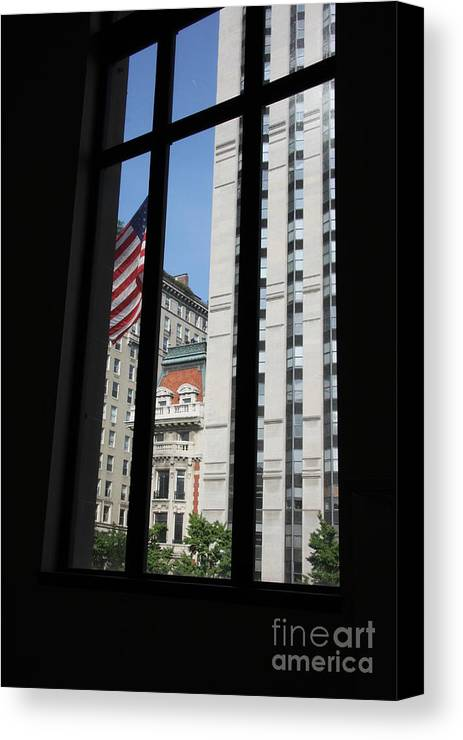 Window Canvas Print featuring the photograph Window View With Flag by Christiane Schulze Art And Photography