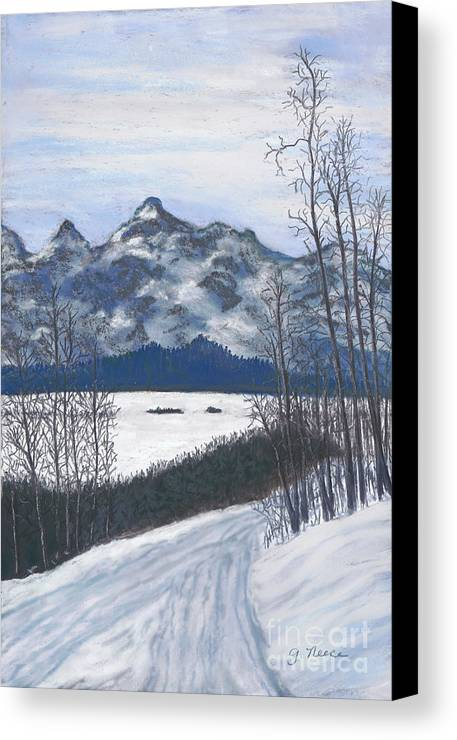 Montana Canvas Print featuring the painting Winter Tetons by Ginny Neece