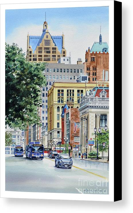 Milwaukee Street Scene. Wisconsin Avenue Watercolor Painting In Downtown Milwaukee Canvas Print featuring the painting On Wisconsin by Rick Mock