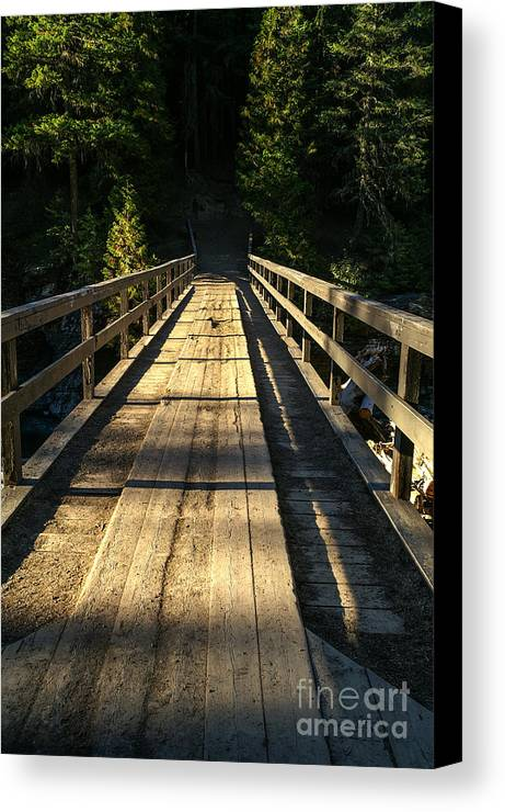 Glacier National Park Canvas Print featuring the photograph Wooden Bridge by Sue Smith
