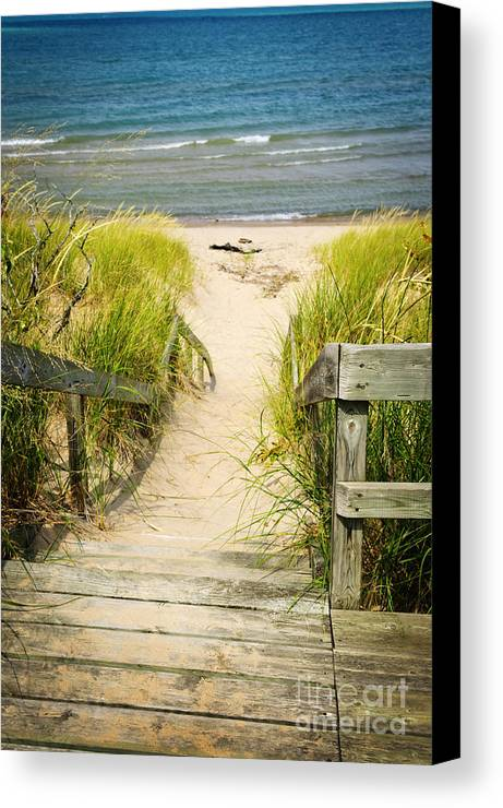 Beach Canvas Print featuring the photograph Wooden Stairs Over Dunes At Beach by Elena Elisseeva
