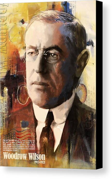 Woodrow Wilson Canvas Print featuring the painting Woodrow Wilson by Corporate Art Task Force