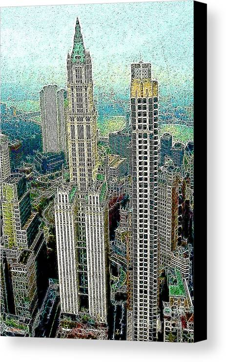Woolworth Building Canvas Print featuring the photograph Woolworth Building New York City 20130427 by Wingsdomain Art and Photography