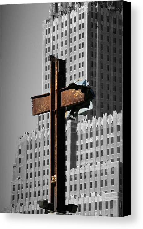 World Canvas Print featuring the photograph World Trade Center Cross New York by Mathew Lodge