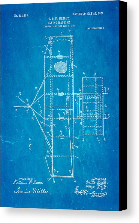 Aviation Canvas Print featuring the photograph Wright Brothers Flying Machine Patent Art 2 1906 Blueprint by Ian Monk