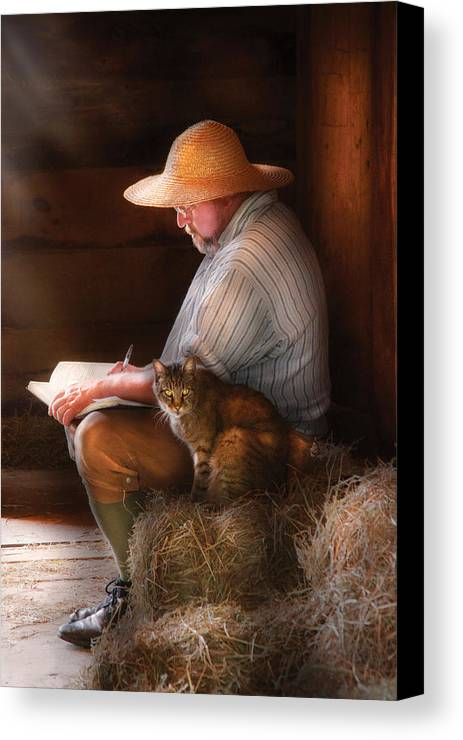 Savad Canvas Print featuring the photograph Writer - Writing In My Journal by Mike Savad