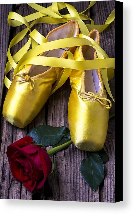 Ballet Shoes Shoe Canvas Print featuring the photograph Yellow Ballet Shoes by Garry Gay