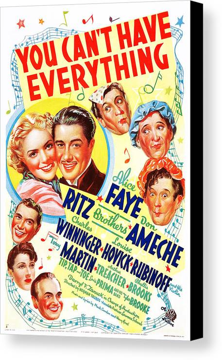 1930s Movies Canvas Print featuring the photograph You Cant Have Everything, Us Poster by Everett