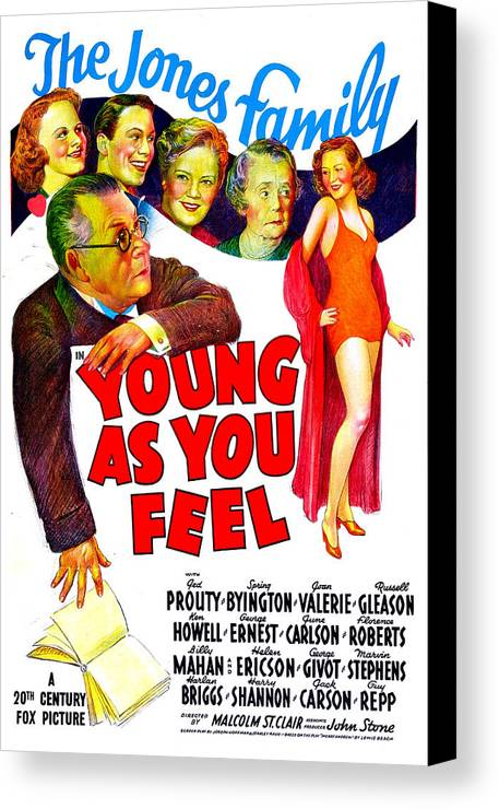 1940 Movies Canvas Print featuring the photograph Young As You Feel, Us Poster, Jed by Everett