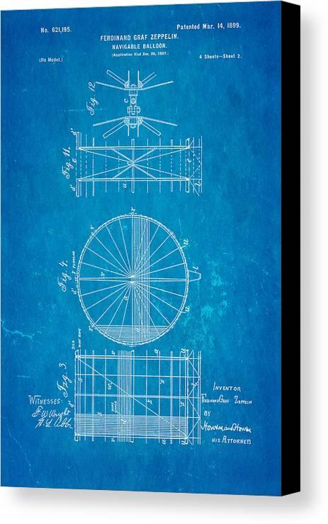 Aviation Canvas Print featuring the photograph Zeppelin Navigable Balloon Patent Art 2 1899 Blueprint by Ian Monk