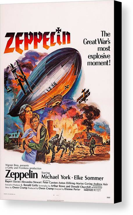1970s Poster Art Canvas Print featuring the photograph Zeppelin, Us Poster Art, Front by Everett