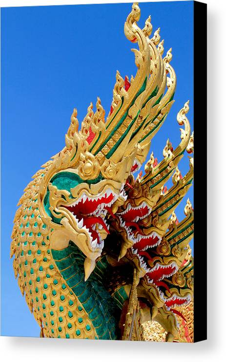 Ancient Canvas Print featuring the painting Asian Temple Dragon  by Panyanon Hankhampa