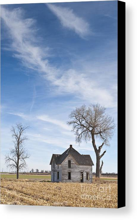 Abandoned Canvas Print featuring the photograph Abandoned House In Field by Dave & Les Jacobs