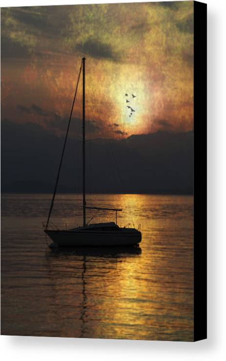Boat Canvas Print featuring the photograph Boat In Sunset by Joana Kruse