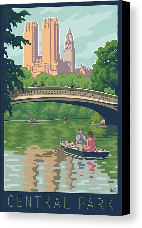 Bow Bridge Canvas Print featuring the digital art Bow Bridge In Central Park by Mitch Frey
