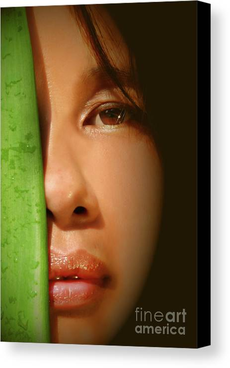 Adult Canvas Print featuring the photograph Close-up Of A Beautiful Asian Woman by Sandra Cunningham