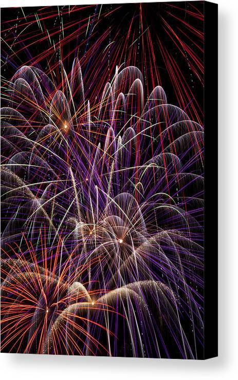 Fireworks 4th Of July Canvas Print featuring the photograph Fireworks by Garry Gay