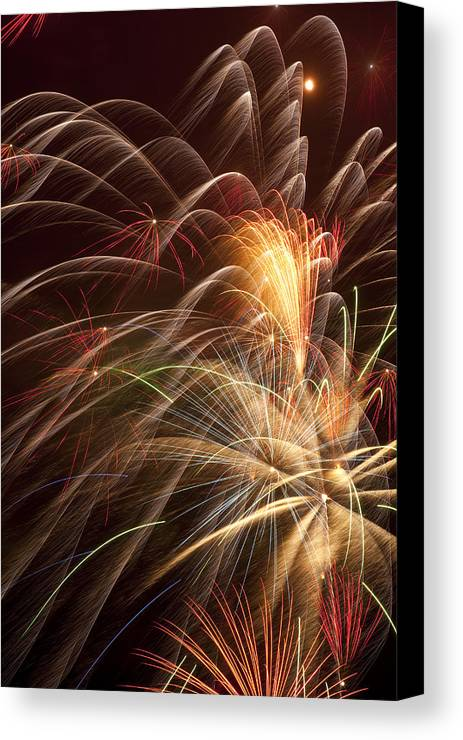 Fireworks 4th Of July Canvas Print featuring the photograph Fireworks In Night Sky by Garry Gay