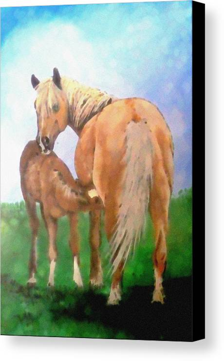 Horse Canvas Print featuring the painting Mare And Foal by Jennifer Jeffris
